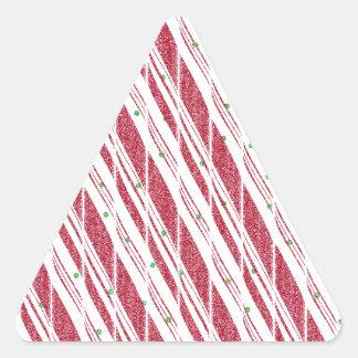 Frosty Red Candy Cane Pattern Triangle Sticker