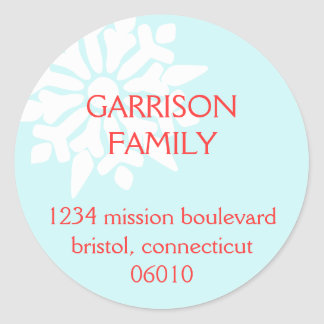 Frosty snowflake blue custom holiday address label