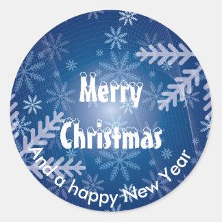 Frosty snowflake Merry Christmas Round Sticker