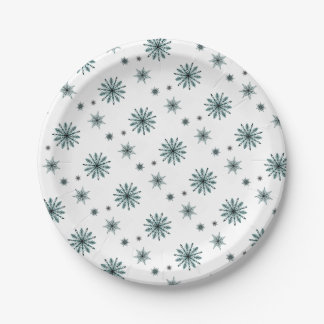 Frosty snowflake stars paper plate