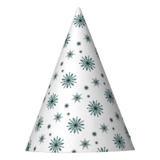 Frosty snowflake stars party hat