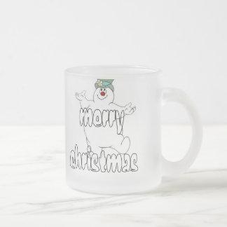 frosty snowman 10 oz frosted glass coffee mug