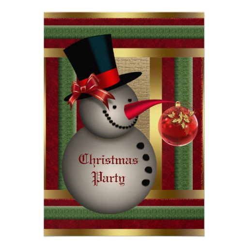 Frosty Snowman Christmas Party Invitation