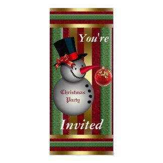 "Frosty Snowman Christmas Party Invitation 4"" X 9.25"" Invitation Card"
