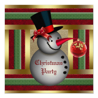 """Frosty Snowman Christmas Party Invitation 5.25"""" Square Invitation Card"""