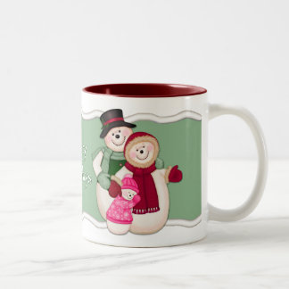 Frosty Snowman Family - Pink Two-Tone Coffee Mug