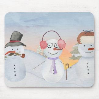 Frosty Snowman & Friends Winter Snow Scene Mouse Pad