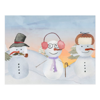 Frosty Snowman & Friends Winter Snow Scene Postcard