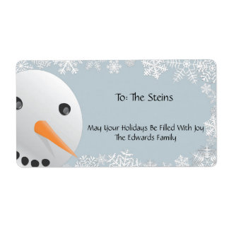 Frosty Snowman Gift Tags Shipping Label