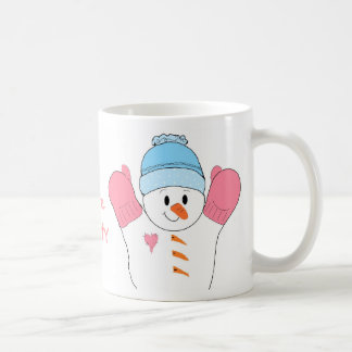 Frosty Snowman in Pink Classic White Coffee Mug