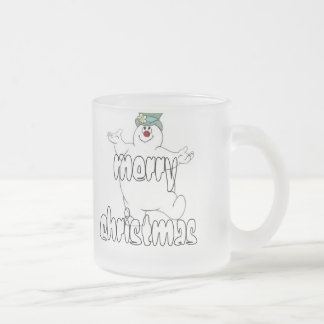 frosty snowman frosted glass mug