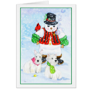 Frosty Terrier Adventures Greeting Card