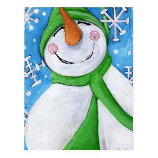 Frosty the happy snowman postcard