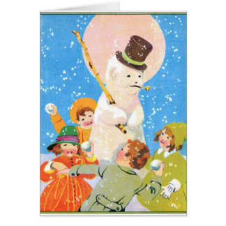 Frosty The Snowman and Children Greeting Card