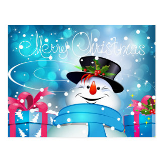 Frosty the Snowman - Merry Christmas Postcard