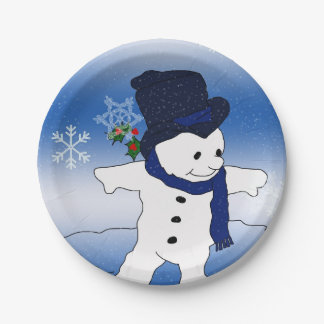Frosty the Snowman Skating 7 Inch Paper Plate