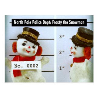 Frosty the Snowman's Mug Shot Post Cards