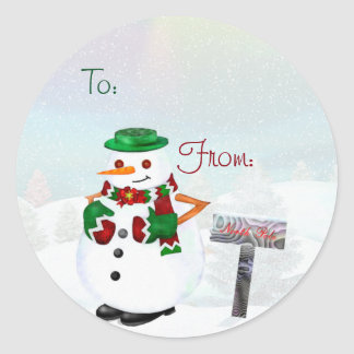 Frosty Town Christmas CUSTOM to and From or blank Round Sticker