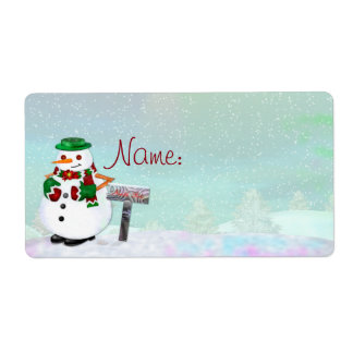Frosty Town Christmas NAME TAG or CUSTOMIZE IT Shipping Label