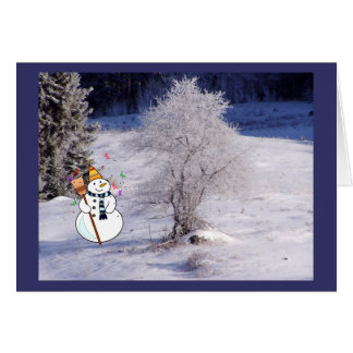 Frosty Tree Snowman Greeting Card