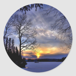 Frosty Winter Night Round Sticker
