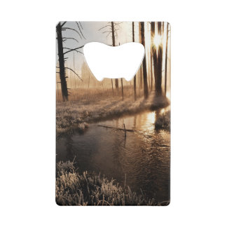 Frosty Yellowstone Morning Credit Card Bottle Opener