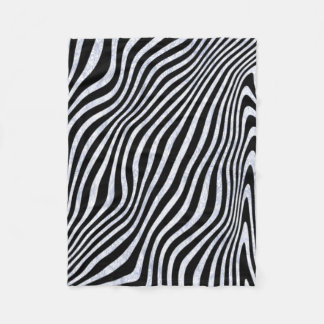 Frosty Zebra Stripes Fleece Blanket