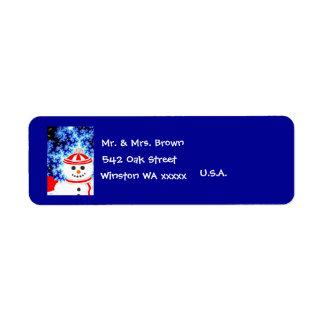 FROSTY'S NIGHT Snowman Address Label
