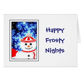 FROSTY'S NIGHT Snowman Design Greeting Card