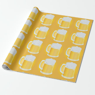 Frothy Pints of Golden Beer Mugs Pattern Wrapping Paper