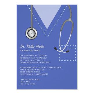 Frotte l'invitation médicale bleue d'obtention du carton d'invitation  12,7 cm x 17,78 cm