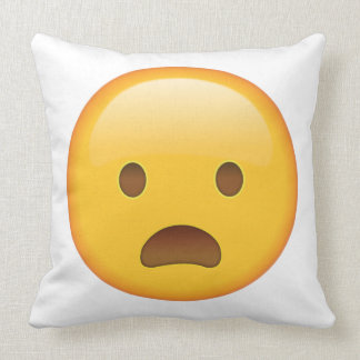 Frowning Face with Open Mouth - Emoji Throw Pillow