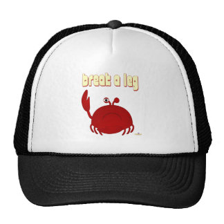 Frowning Red Crab Break A Leg Mesh Hats