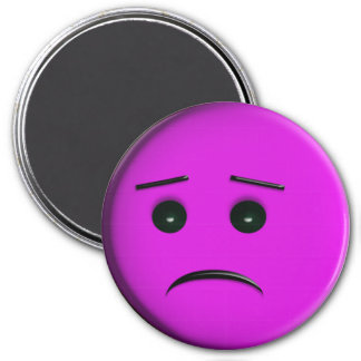 Frowny Face Purple Magnet
