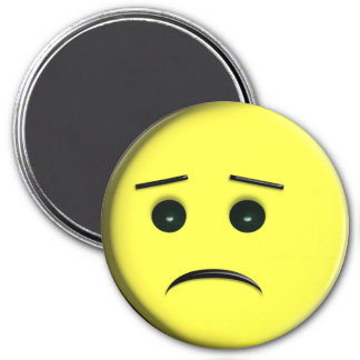 Frowny Face Yellow 3 Inch Round Magnet