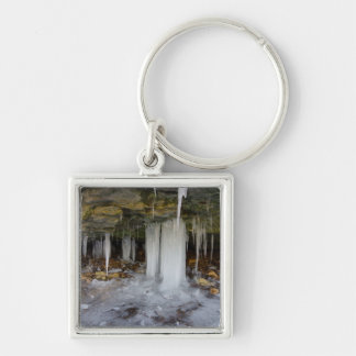 Frozen Cave Silver-Colored Square Keychain