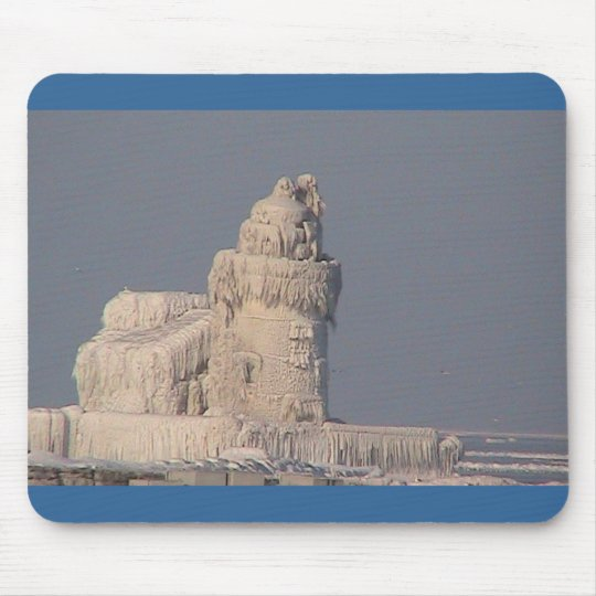 Frozen Cleveland Lighthouse Mouse Pad