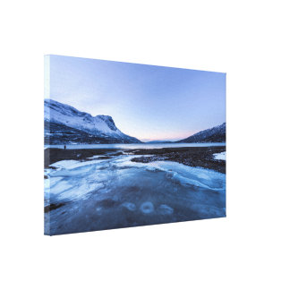 Frozen Creek on the Shore of Narvik Fjord Gallery Wrapped Canvas