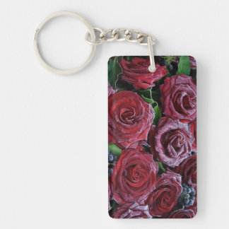Frozen Dark Red Roses On A Grave Double-Sided Rectangular Acrylic Keychain