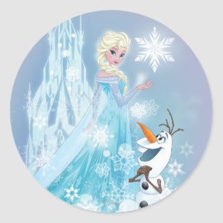 Frozen | Elsa and Olaf - Icy Glow Round Sticker