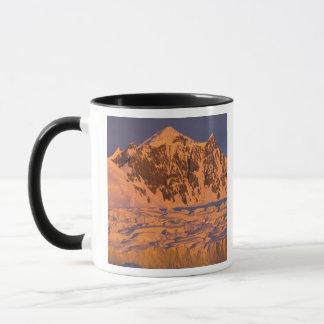 frozen glacial mountain landscape along the mug