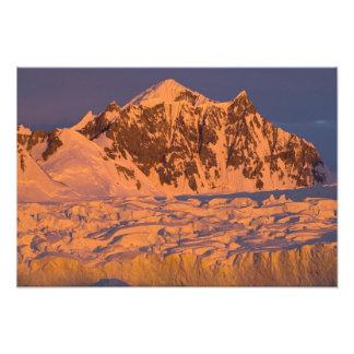 frozen glacial mountain landscape along the photo art