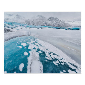 Frozen glacier ice, Iceland Poster