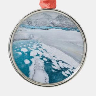 Frozen glacier ice, Iceland Silver-Colored Round Ornament