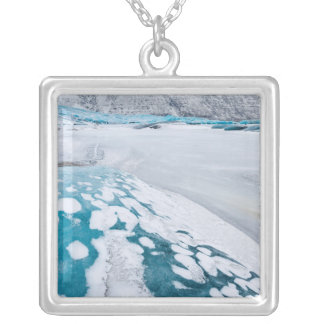 Frozen glacier ice, Iceland Silver Plated Necklace