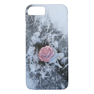Frozen Glitter Pink Rose Cell Case