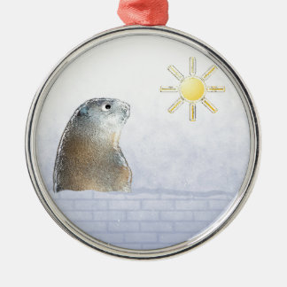 Frozen Groundhog Metal Ornament
