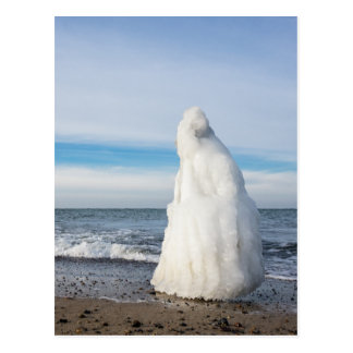 Frozen groyne in winter on shore of the Baltic Sea Postcard