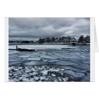 Frozen Harbor Cape Cod Greeting Card (Quissett)