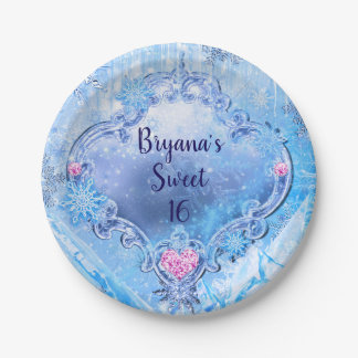 Frozen Ice & Snowflakes Winter Wonderland Party Paper Plate